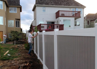 2 Tone White Gray Privacy Fence