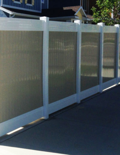 2 Tone Tan and White Vinyl Privacy Fence