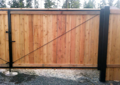 20' Steel Framed Wood DD Gate With Steel Hinge Posts From Back