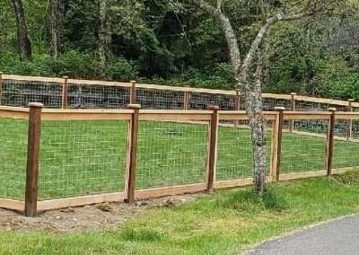 4' Hog panel fence, PT posts, 1x2 trim