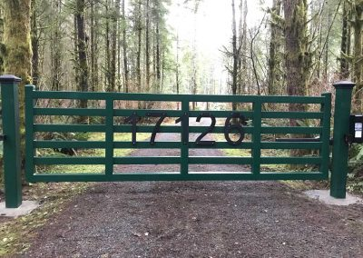 14'_x_6'_custom_welded,_single_swing_automatic_gate,_ranch_style_with_address