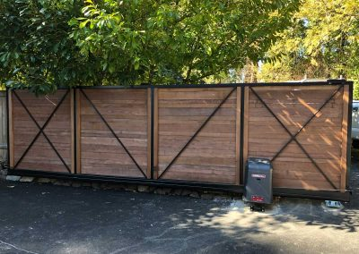 16' Sliding Gate, Black Frame, 1x6 Cedar Fill, Back Side