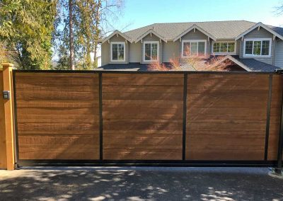 16' x 6' Sliding Gate, Black Frame, 1x6 Cedar Fill