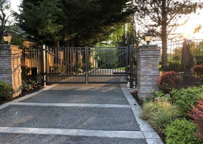 AFS Series C 14' x 6' Flat Top, Double Drive Imperial Grade Gate with Puppy Panels, Flush Bottom in Dark Bronze
