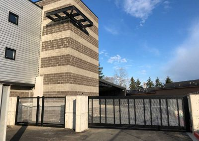 Anthem Self Storage, Everett Mall Way 24' x 6' Cantilever Slide Automatic Gate with 6 Gauge Mesh Infill 2 x 2 Verticals