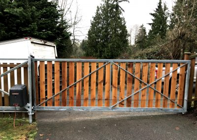 16' x 6' automatic Cantilever gate with 1x6 cedar boards