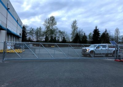 40' cantilever gate galv frame chain link fill