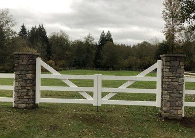 14' double drive gate, high back 3 rail white PVC ranch rail with black hardware