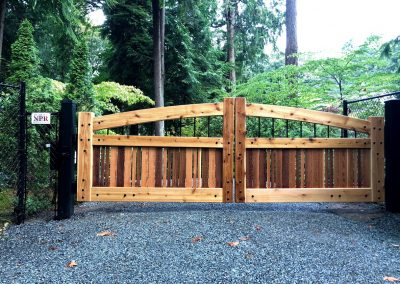 16' double drive arch top timber framed gate